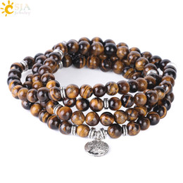 natural life jewelry Australia - CSJA Tiger Eye Rosary Beads Bracelet Multilayer Natural Stone Homma Bracelets 108 Mala Buddhism Pulseras & Bangle Jewelry Tree of Life F411