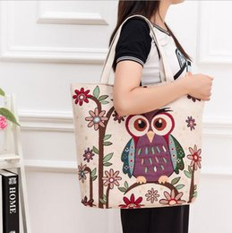$enCountryForm.capitalKeyWord Australia - Wholesale Summer Women Shoulder Bags Owl Embroidery Lady Canvas Jacquard Lady Bags Middle Female Handbags Free Shipping