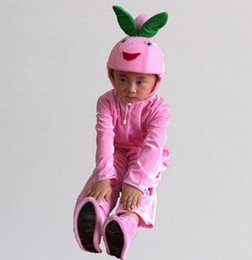 Wholesale peach costumes resale online - 2017 New style children Cosplay Honey peach Fruits perform Sequins clothing Boys and girls Dance Conjoined clothes long style