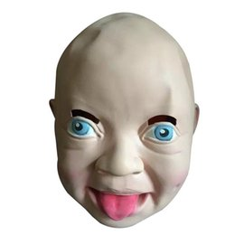 half face head mask UK - Smiling Baby Latex Mask Costume Accessory Child Head Mask For Cosplay Halloween