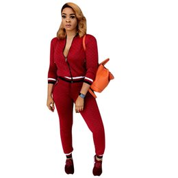 Red Cardigan Outfit UK - women 2018 New autumn full sleeve jackets + skinny long pants two pieces sporty suit lady fashion outfit set tracksuit