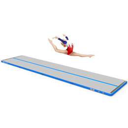 Pumping Water Air Australia - 5*1*0.1m Airtrack Tumbling Mats for Gymnastics, Inflatable Air Floor Mat for Home, Backyard, Cheerleading, Beach, Park and Water with Pump