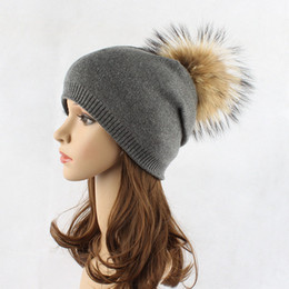 Real Fur Pompoms For Hats Canada - AAA Great Quality Winter Pompom hat for Women  Knit 6eec7e5ad94e