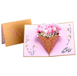 Chinese  Flower valentine 3D Laser Kraft Paper Pop Up Card With Envelope Invitations Greeting Cards Wedding Invitation manufacturers