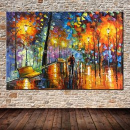 $enCountryForm.capitalKeyWord Australia - Large Handpainted Lover Rain Street Tree Lamp Landscape Oil Painting On Canvas Wall Art Wall Pictures For Living Room Home Decor Y18102209