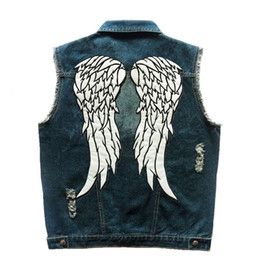 Chinese  The  Daryl Dixon Wings Vest Men's Motorcycle Biker Denim Jeans Vest Hole Patches Sleeveless Motor Rider Jacket S-5XL manufacturers