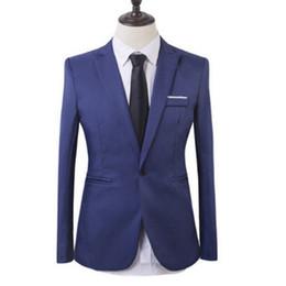 Discount hot male blazers - Hot Sell New Spring Autumn Casual Men Blazer ,Cotton Slim Suit Blaser, Masculino Male Jacket Blazer Men, Solid Color Coa
