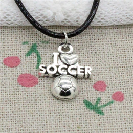 $enCountryForm.capitalKeyWord NZ - Creative Fashion Antique Silver Pendant I Love Soccer 20*16mm Necklace Choker Charm Black Leather Cord Handmade Jewlery