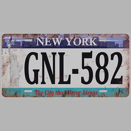 Paint Art 3d NZ - New York GNL 582 Super Hot 3D Emboss Retro License Plates Vintage Tin Sign Art Wall Plaque decor Home Metal Painting Bar Pub