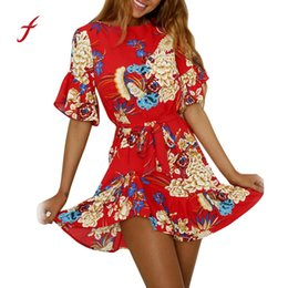 online shopping feitong New Arrival Casual Fashion Women Spaghetti Strap Floral Print Beach Style Skater A Line Mini Best Selling Dress