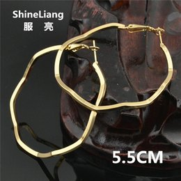 $enCountryForm.capitalKeyWord NZ - Shineliang Wholesale 2018 Big Irregular circle shape hoop Earrings for women female Layer fashion jewelry old silver gril