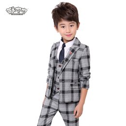 kids blazers UK - Boys Plaid suit for wedding kids Formal Blazer Vest Shirt Pants Tie 5Pcs costume enfant garcon mariage jogging garcon tuxedo N51
