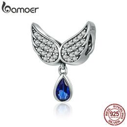 sterling feather pendant 2019 - BAMOER Hot Sale Authentic 925 Sterling Silver Angel Wings Feather Pendant Charm fit Women Bracelet amp Necklace Jewelry