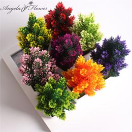 1 set vase flower artificial potted plants small bonsai plastic fake flower wedding christmas decoration for home flower gift