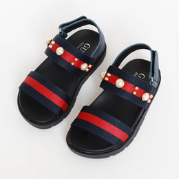 be1c13ba712b A 2018 Summer Hot Sell New Pattern Girl Joker Casual Sandal Hasp Stripe  Fashion Retro Pearl Decorate Kids Cool Shoes For Baby Comfortable cotton  fabrics for ...