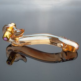 graceful curve golden glass dildo vibrator fake penis anal butt plug sexy toys beauty vibrating glass dildos sex toy products on Sale