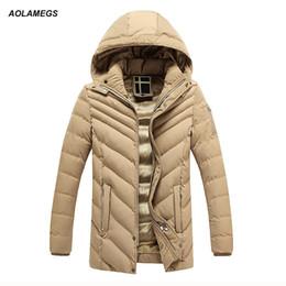 Hood Parka Men Canada - Aolamegs Winter Jacket Men Thick Warm Plus Velvet Parkas Coat Hood Cotton-padded Jackets Outdoors Windproof Outwear Warm Clothes