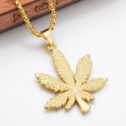 Discount small leaf charms wholesale - QUMORAIN Gold Silver Plated Cannabiss Small Charm Necklace Maple Leaf Pendant Necklace Hip Hop Jewelry Wholesale