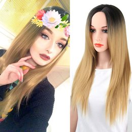 Grey woman hair wiGs online shopping - Rare HAIR Synthetic Ombre Blonde Grey Red Wigs for Women Black Long Straight can be Cosply Hair with Heat Resistant Fiber