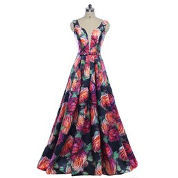 China New 2018 Gorgeous Style Dress Evening Prom party floral print pattern Vestido de Festa sexy V-neck long style dress suppliers