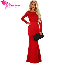 Long White Mermaid Maxi Dress NZ - Dear Lover Long 2018 Mermaid Dresses Sexy Backless Gowns Party Lace Long Sleeve Bow Back Maxi Dress High Quality Vestido LC61857
