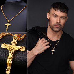 Discount gold cross chain necklace Cross Necklace INRI Crucifix Jesus Piece Pendant Gold Color Stainless Steel Men Chain Catholic Jewelry Christmas Gifts N050