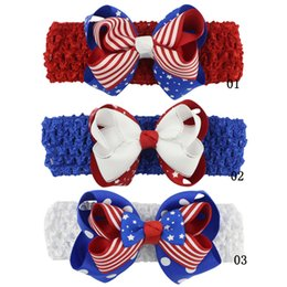 1f73f6056de5 Baby Girls Hair Bows Double Layer Bow Knot Hair Accessories for Girls  Independence Day Blue Stars Red Striped Hair Dresses Party Headbands