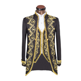 Cool Suit Lapels Australia - Cool 3 Piece Embroider Black Groomsmen Mandarin Lapel Groom Tuxedos Men Suits Wedding Prom Dinner Best Man Blazer(Jacket+Pants+Tie+Vest) AA3