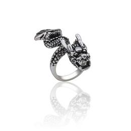 $enCountryForm.capitalKeyWord UK - Steampunk Vintage Animal Titanium Steel Ring Men Gothic Cool Mens Chinese Dragon Rings Adjustable Finger Jewelry Anel Masculino