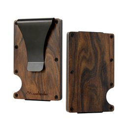 China Natural Wooden Credit Card Holder, RFID Blocking Money Clip Minimalist Aluminum Front Pocket Wallet Credit Card Business ID Holder for Men cheap money clip business card holder suppliers
