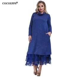 b80784b9e823123 5xl 6xl водолазка зима макси платье большой размер кружева лоскутное длинные  женщины платье офис плюс размер 2018 элегантные платья халат