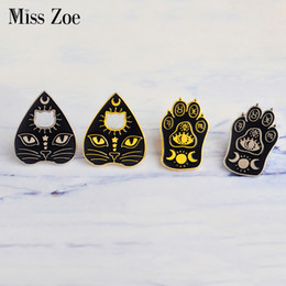 eastern star pins UK - Miss Zoe Witchcat Black cat paw Star moon eye Witch craft Magic Course Enamel Pins Gold silver brooch Badge Denim coat Jewelry Gifts