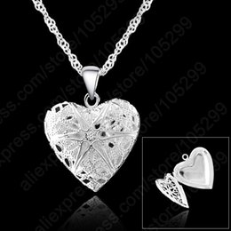 $enCountryForm.capitalKeyWord Australia - Frame Case Picture Necklace 925 Sterling Silver Plated Jewelry Heart Pendant Necklaces +18 Inches Singapore Chain