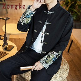 chinese coat l NZ - Zongke Chinese Style Wave Printed Jacket Men Fashions Patchwork Streetwear Bomber Jacket Men Coat Coat 5XL 2018 New