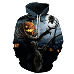 brown tracksuits Australia - Men Women Hoodie Casual Tracksuits Fashion Brand Hooded Coats Halloween party gift pumpkin skull 3D Hoodies Sweatshirts Large