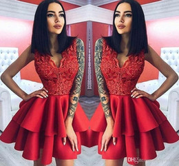 Discount cheap satin robes coral - Sexy Lace Cheap 2018 Red Short Homecoming Dresses V Neck Above Knee Length Cocktail Party Gowns Prom Dress Robes de demo