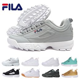 c38969a3bfc47 Top FILA Disruptors II 2 zapato Mujer hombre scarpe blanco negro gris rosa  dama zapatos casual sport sneaker Jogging zapatillas 36-44 EUR
