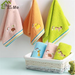 2018 kids embroidered towels 25x50cm 100% Cotton Cute Animal Embroider  Sugar Color Comfortable Baby Children