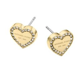 StainleSS Steel jewelry Sell online shopping - selling New York Fashion Brand letter Logo Pave Tone Stud Earrings High quality crystal peach heart Earings fashion brand Wedding jewelry