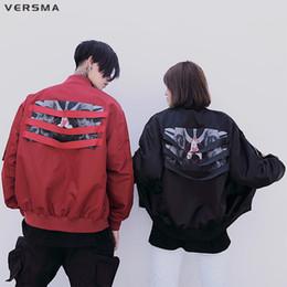 Ribbon Jackets Canada - VERSMA Hip Hop Streetwear Windbreaker Men Punk Pilot Jacket Coat Korean Harajuku Ribbon Patchwork Men Bomber Jacket Dropshipping
