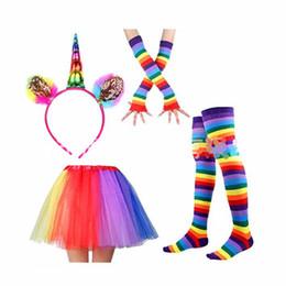 ad64fd036 Unicorn Adult Kids Rainbow Party Set Girls Tutu Skirt Dress With Unicorn  Horn Headband leggings socks gloves Set Party Costumes Outfit YL79