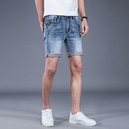 mens shorts holes 2019 - Mens Breathable High Stretch Denim Shorts Male Summer Ripped Hole Casual Jeans Shorts Distressed Straight Short AA11492