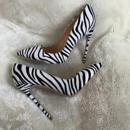 $enCountryForm.capitalKeyWord NZ - Sexy Spring Ladies zebra Stripe Horse Hair Pumps Ladies Pointed Toe Female Stilettos Slip on High Heels Celebrity Shoes for women