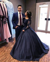 $enCountryForm.capitalKeyWord Canada - Navy Blue Long Sleeve Puffy Prom Dresses Bateau Lace Satin Masquerade Ball Gowns African Evening Formal Dresses Vestidos Plus Size DH4046