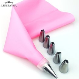 Kitchen Decorators Australia - 8 PCS set Silicone Kitchen Accessories Icing Piping Cream Pink Pastry Bag + 6 Stainless Steel Nozzle DIY Cake Decorating Tips