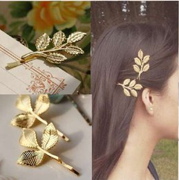 Wholesale New Woman Bride Metal Leaf Hair Clips Pearl Hairpin Beautiful And Elegant Girls barrettes Hair Accessories Fashion Two Type
