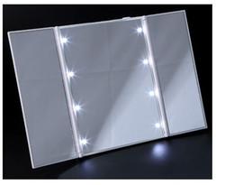 Wholesale 3 Sides Foldable Flash led Light cosmetic mirror antique Desktop mirror New Elegant Makeup Mirror White