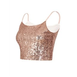 $enCountryForm.capitalKeyWord UK - 2018 Fashion Women Shiny Sequins Slim Elastic Seamless Camisole Summer Sexy Backless Short Tank Tops Street wear