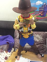 cloth free tv 2019 - Woody Costume Boy Woody Role Play Cowboy Costume Fancy Dress Cosplay Cloths Free Hat and Gun Halloween Children cheap cl