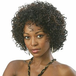 Short curly afro lace front online shopping - Afro Kinky Curly Synthetic Lace Front Wig Glueless Lace Wigs With Baby Hair Short Curly Black Mix Brown Wigs